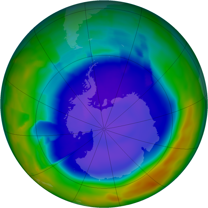 Antarctic ozone map for 19 September 2011
