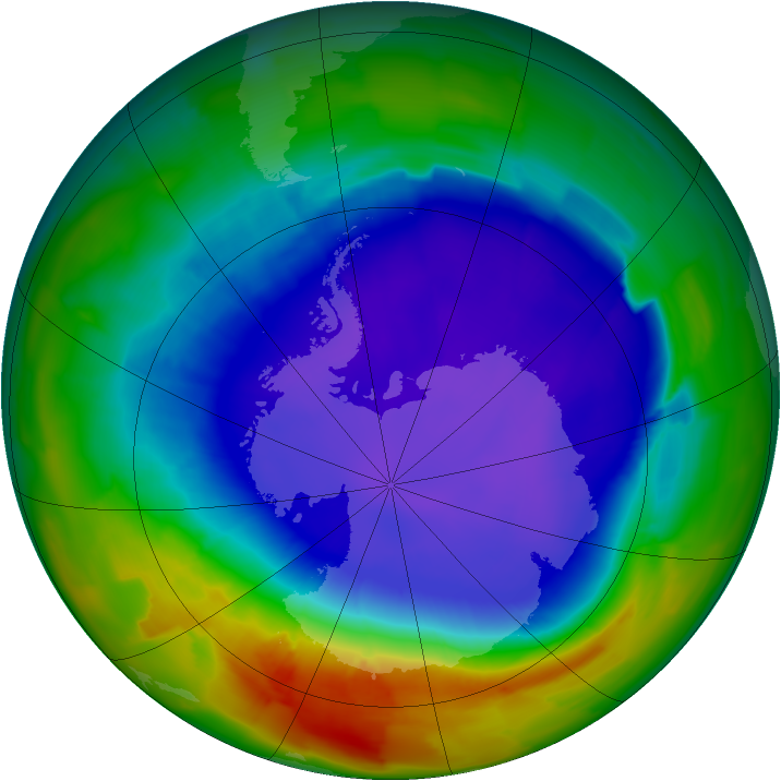 Antarctic ozone map for 22 September 2011