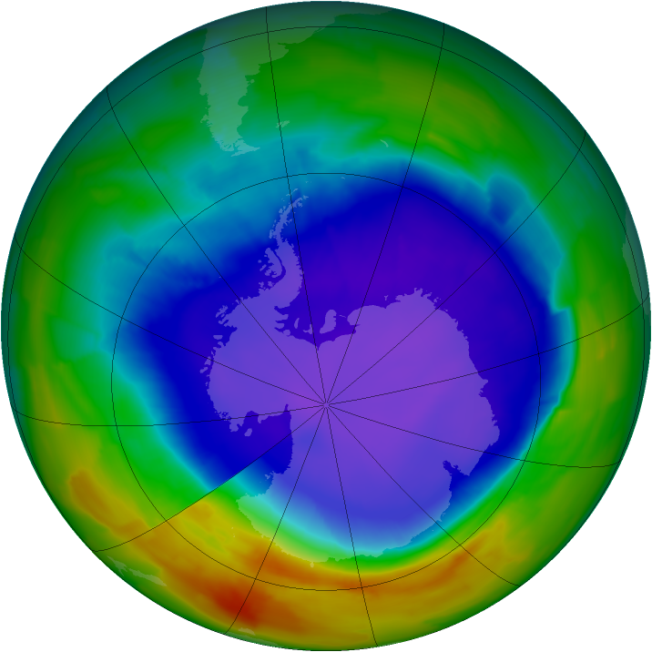 Antarctic ozone map for 23 September 2011