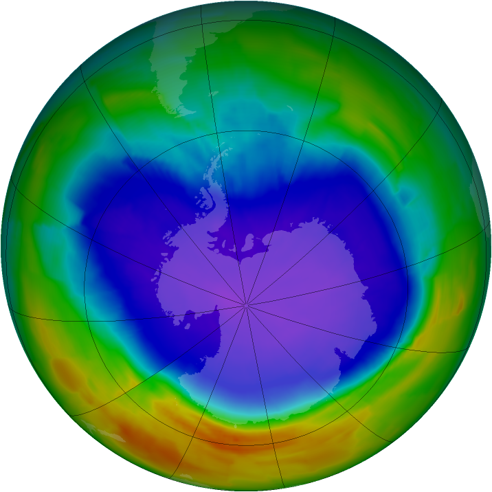 Antarctic ozone map for 24 September 2011