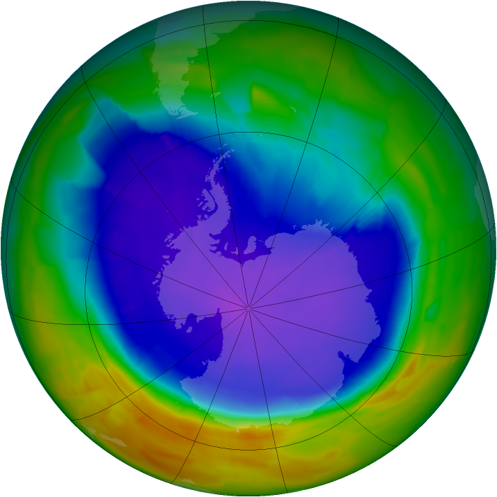 Antarctic ozone map for 25 September 2011