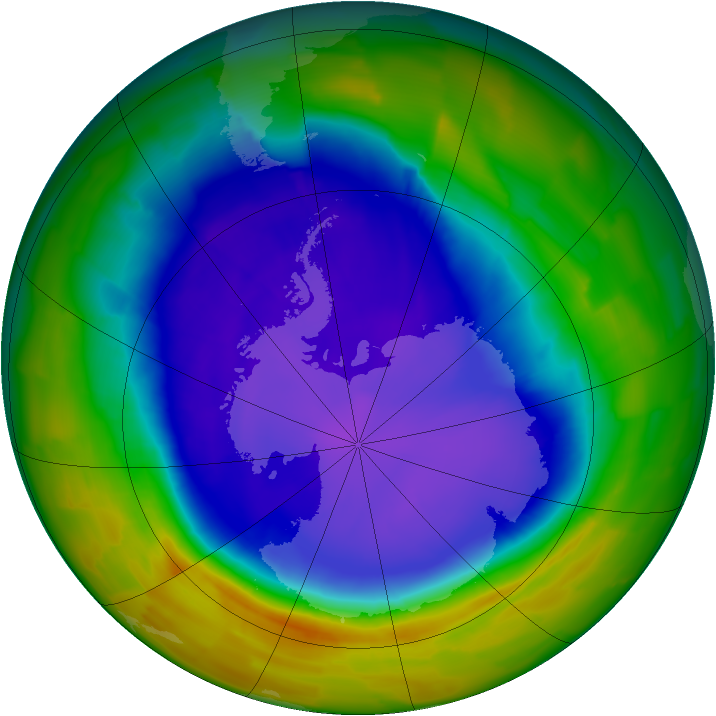 Antarctic ozone map for 26 September 2011