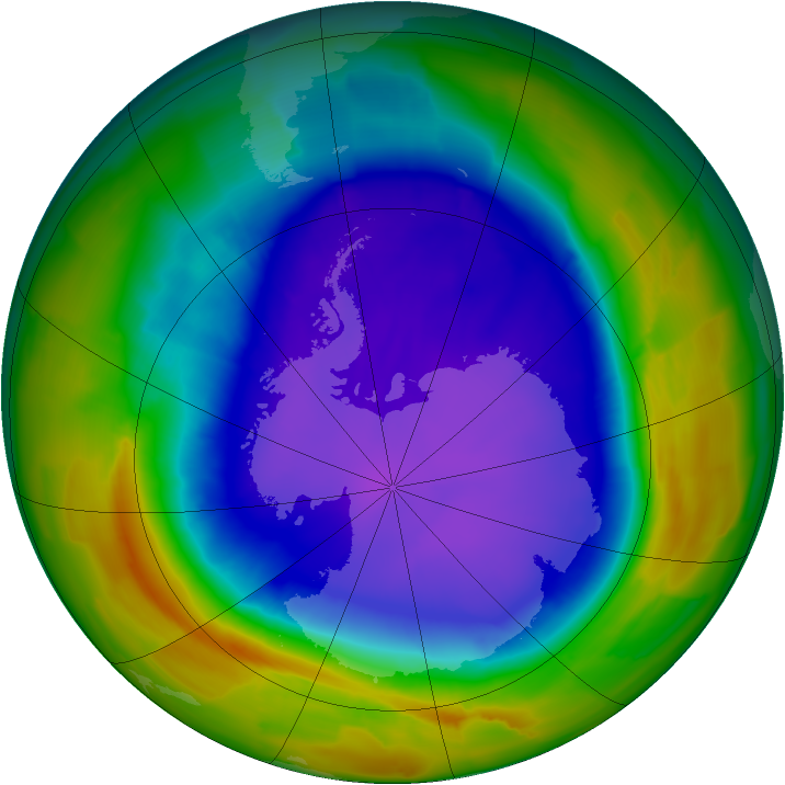 Antarctic ozone map for 28 September 2011