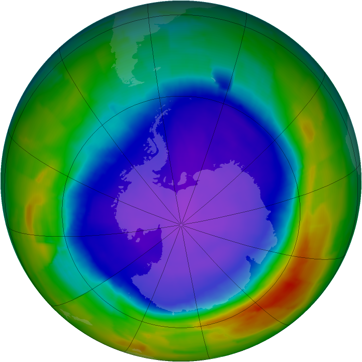 Antarctic ozone map for 30 September 2011