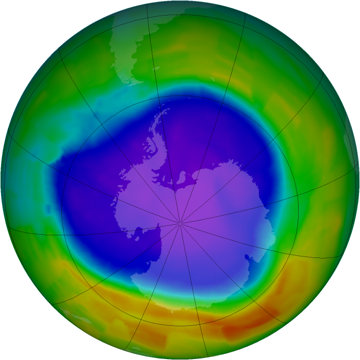 Antarctic ozone map for 03 October 2011