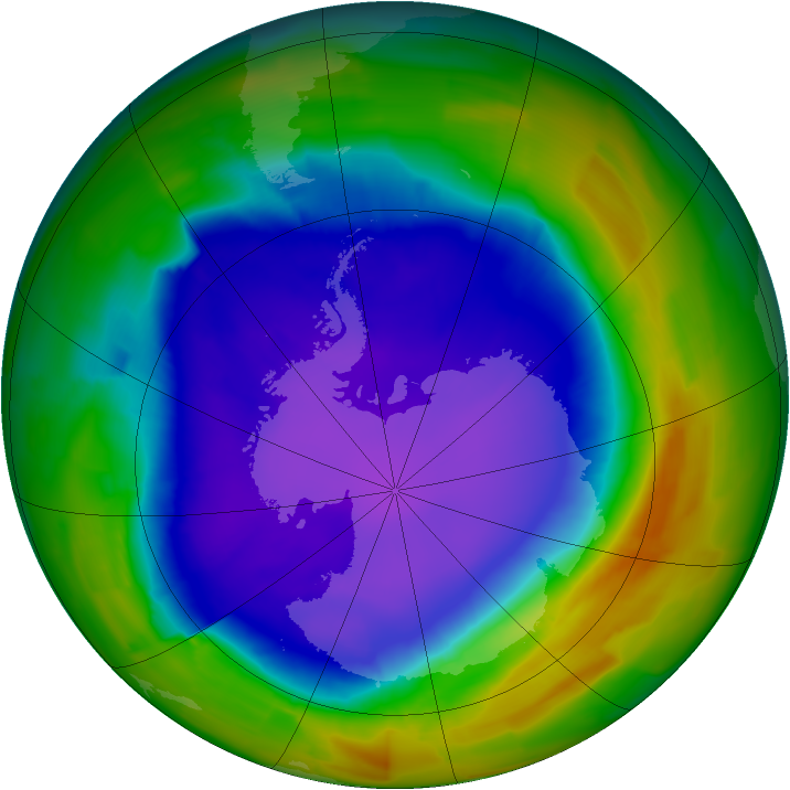 Antarctic ozone map for 08 October 2011