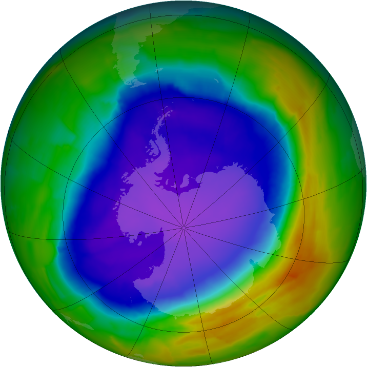 Antarctic ozone map for 09 October 2011