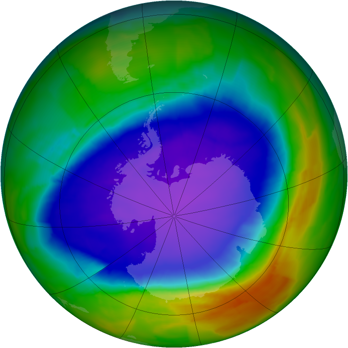 Antarctic ozone map for 11 October 2011