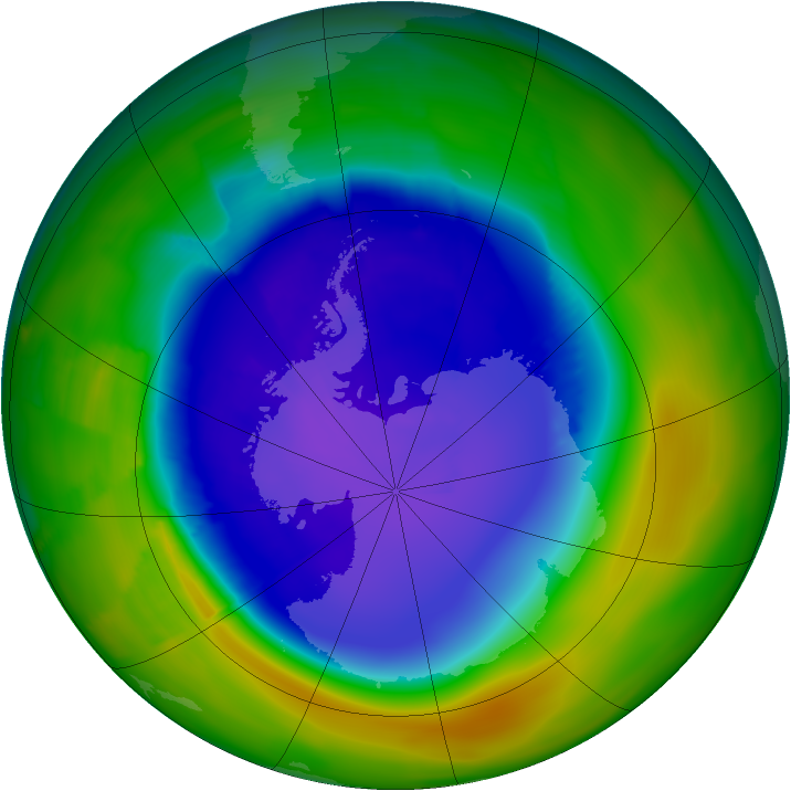 Antarctic ozone map for 21 October 2011