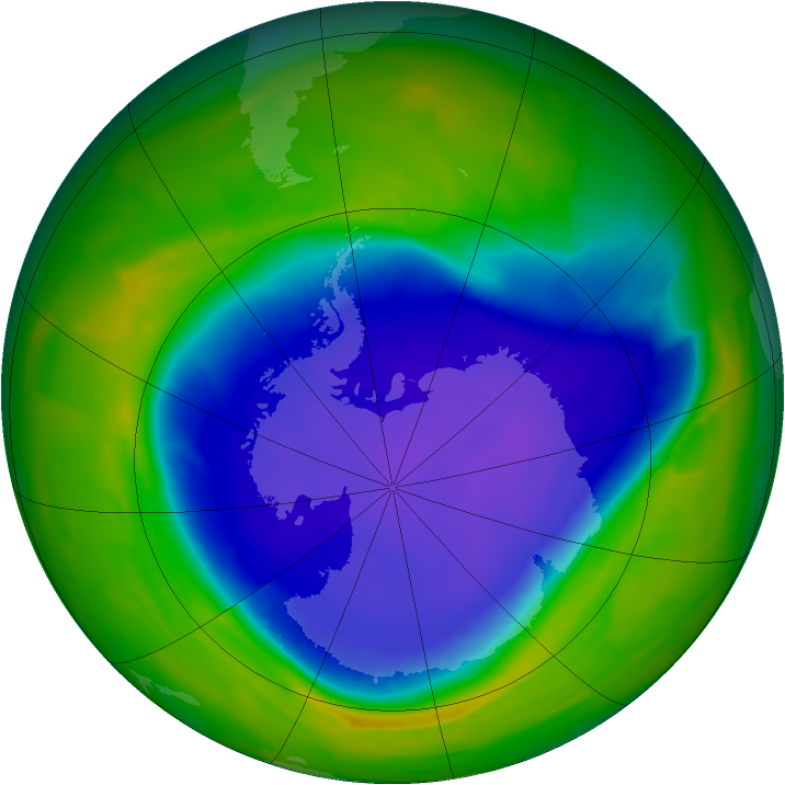 Antarctic ozone map for 30 October 2011