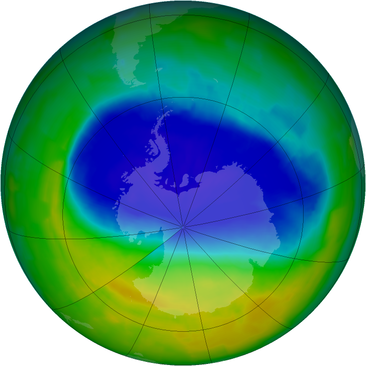 Antarctic ozone map for 13 November 2011