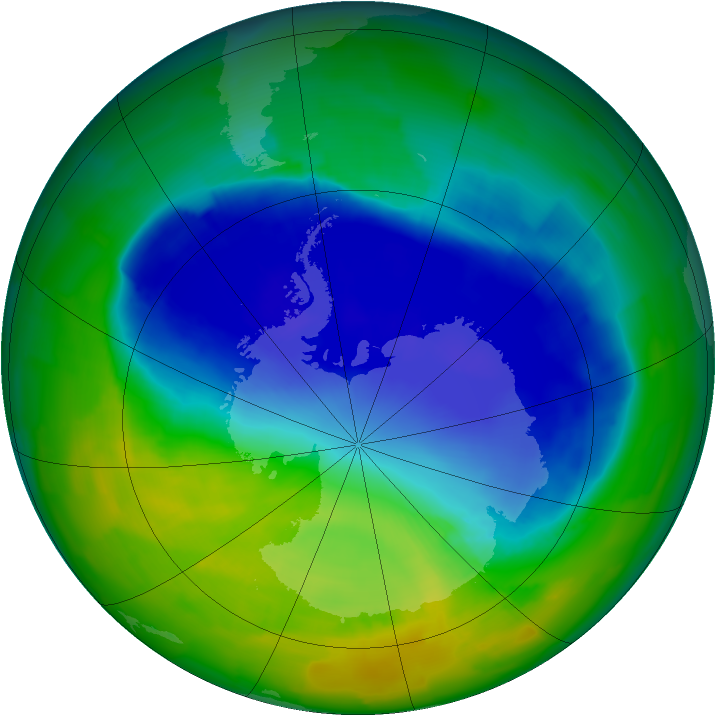 Antarctic ozone map for 15 November 2011