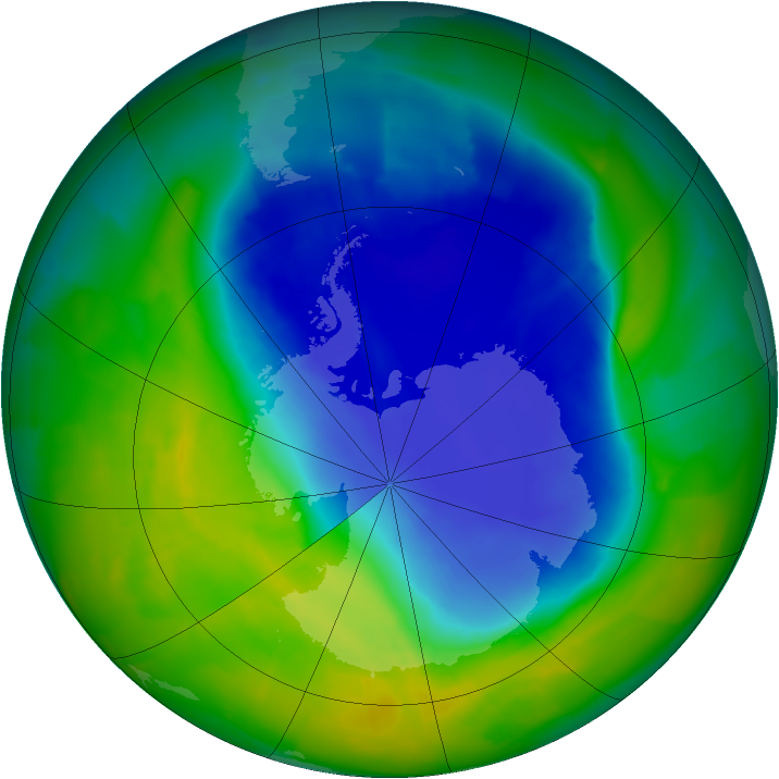 Antarctic ozone map for 19 November 2011