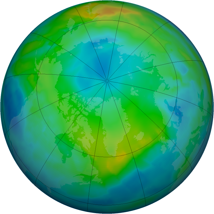 Arctic ozone map for 25 November 2011