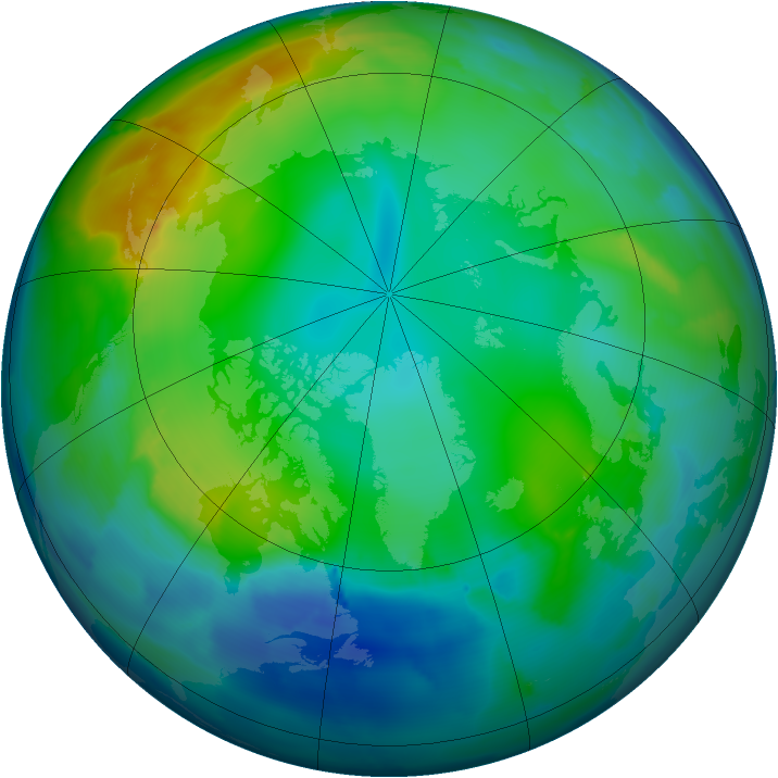 Arctic ozone map for 30 November 2011