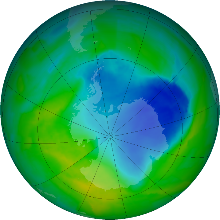 Antarctic ozone map for 30 November 2011