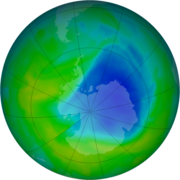 Antarctic ozone map for 02 December 2011