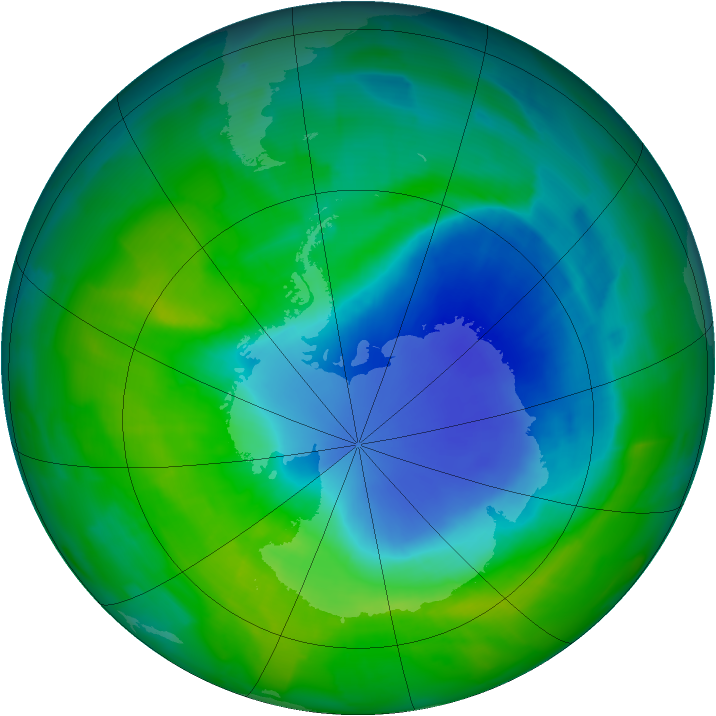 Antarctic ozone map for 03 December 2011