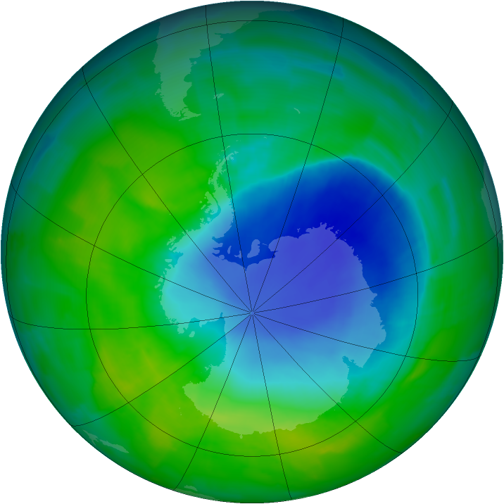 Antarctic ozone map for 04 December 2011