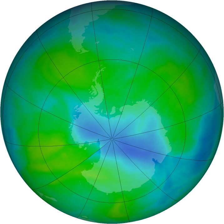 Antarctic ozone map for 19 December 2011