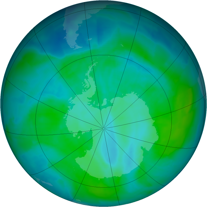 Antarctic ozone map for 04 January 2012