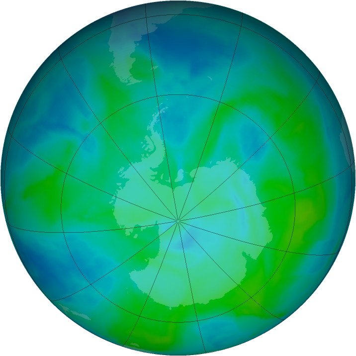 Antarctic ozone map for 10 January 2012