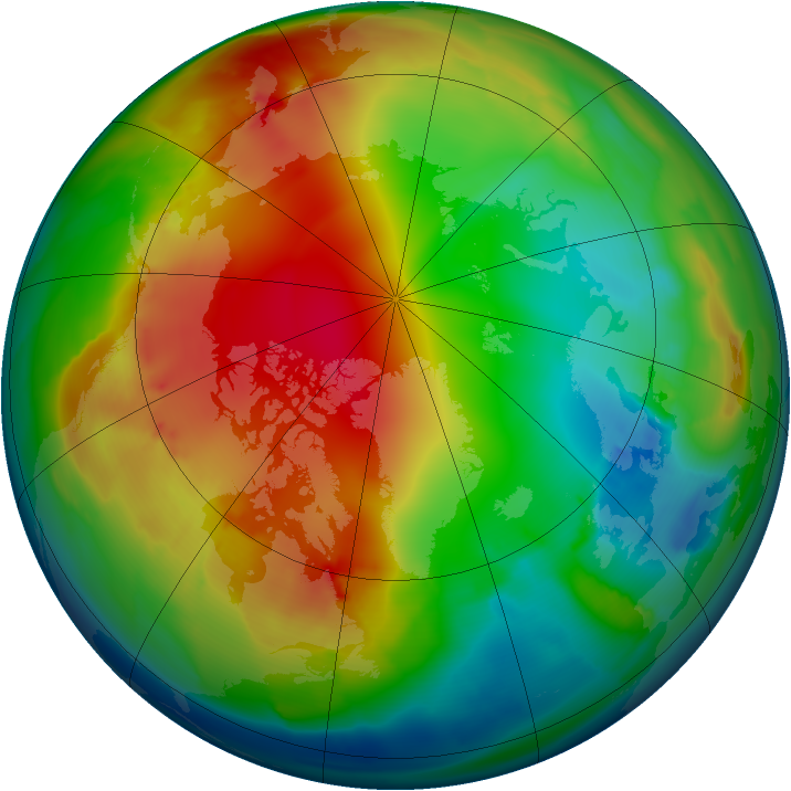 Arctic ozone map for 15 January 2012