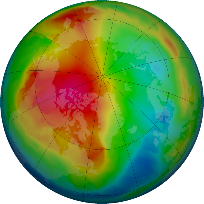 Arctic ozone map for 16 January 2012