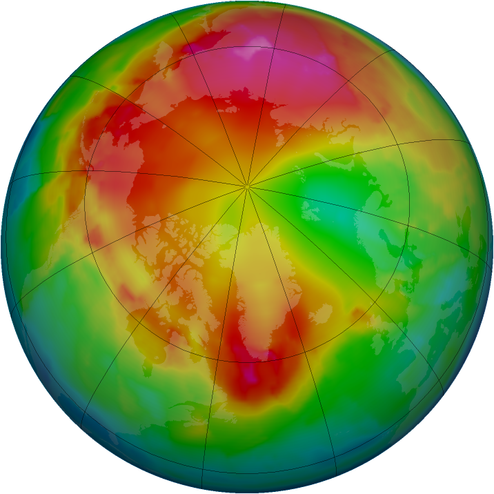 Arctic ozone map for 23 January 2012
