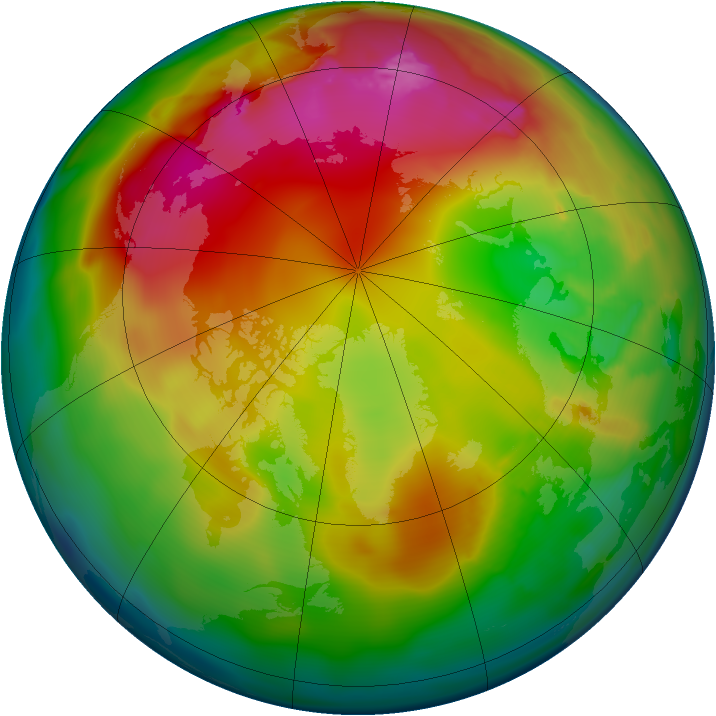 Arctic ozone map for 24 January 2012