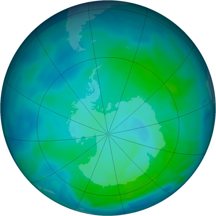 Antarctic ozone map for 24 January 2012