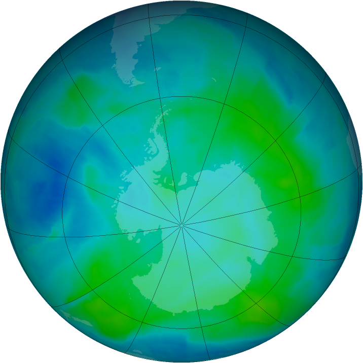 Antarctic ozone map for 26 January 2012