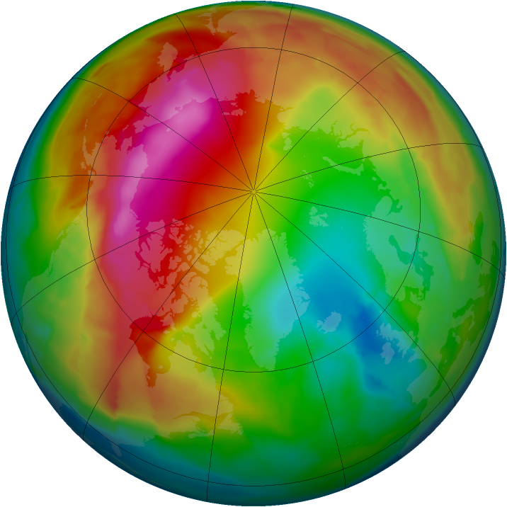 Arctic ozone map for 29 January 2012