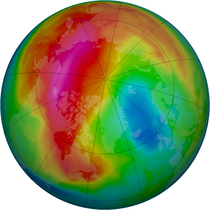 Arctic ozone map for 30 January 2012