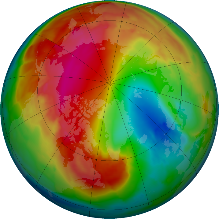 Arctic ozone map for 31 January 2012