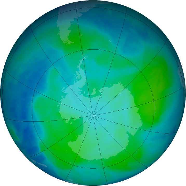 Antarctic ozone map for 31 January 2012