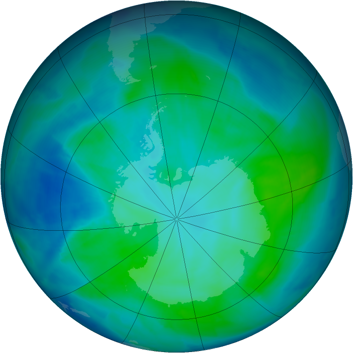 Antarctic ozone map for 01 February 2012