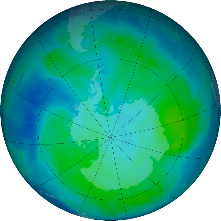 Antarctic ozone map for 02 February 2012