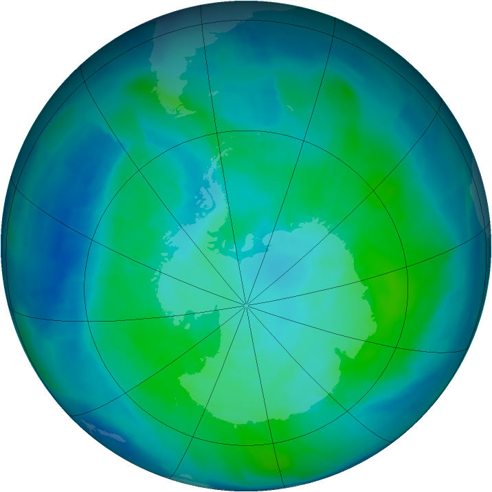 Antarctic ozone map for 03 February 2012