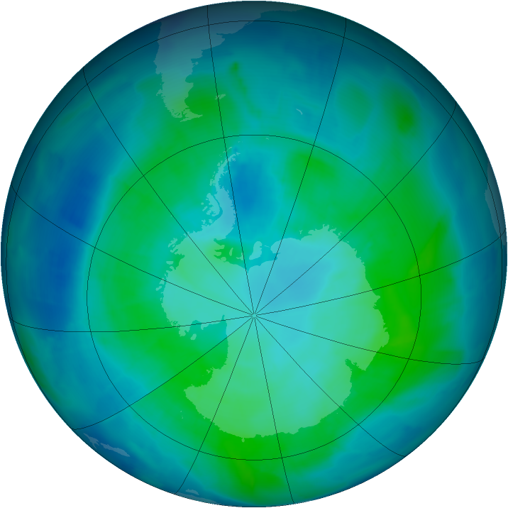 Antarctic ozone map for 04 February 2012