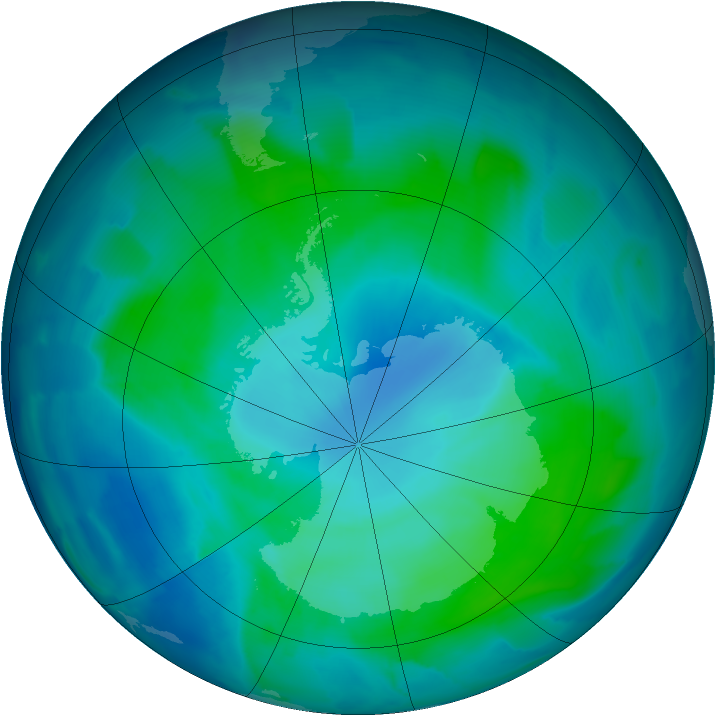 Antarctic ozone map for 07 February 2012