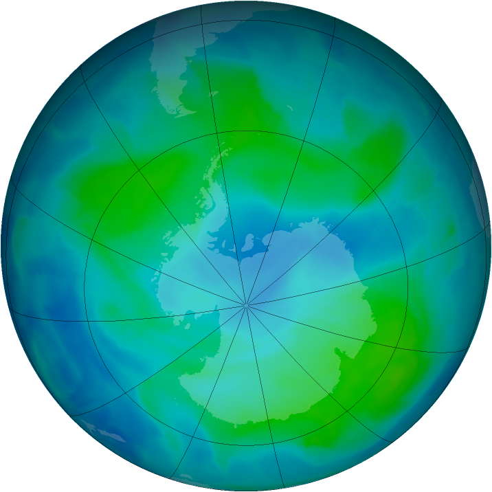 Antarctic ozone map for 08 February 2012