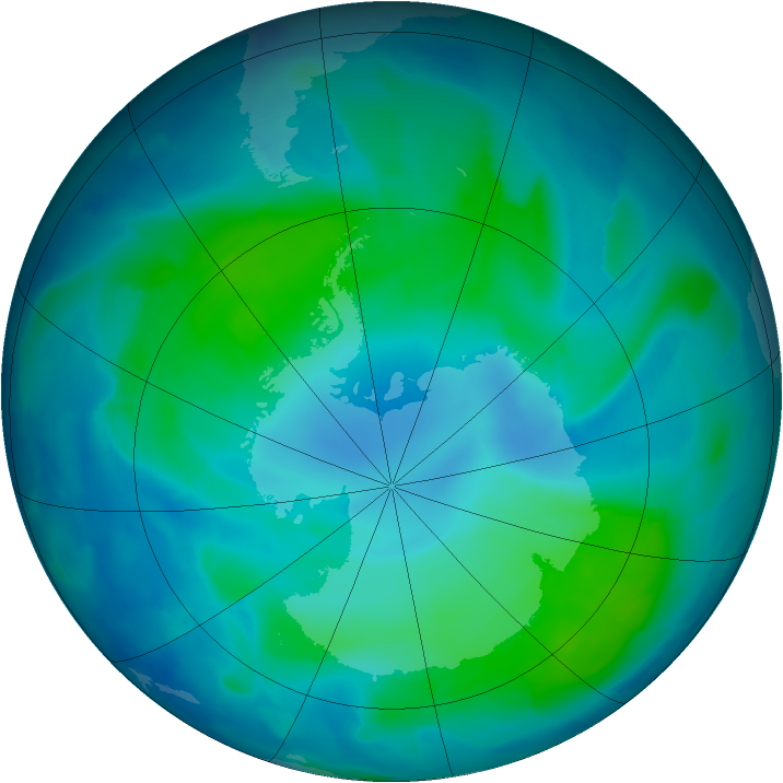 Antarctic ozone map for 09 February 2012