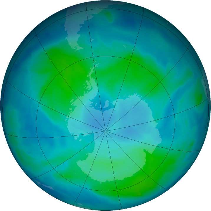 Antarctic ozone map for 11 February 2012