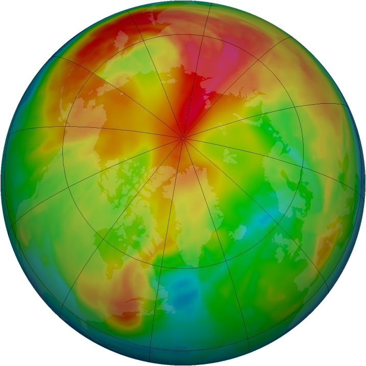 Arctic ozone map for 12 February 2012