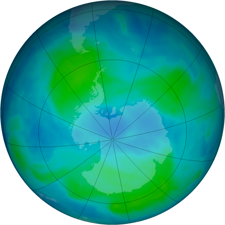 Antarctic ozone map for 12 February 2012