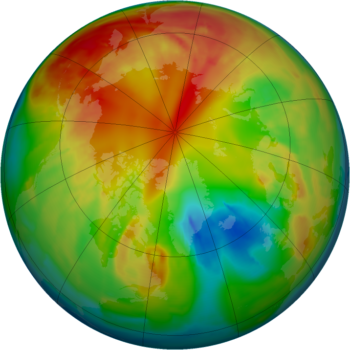 Arctic ozone map for 14 February 2012