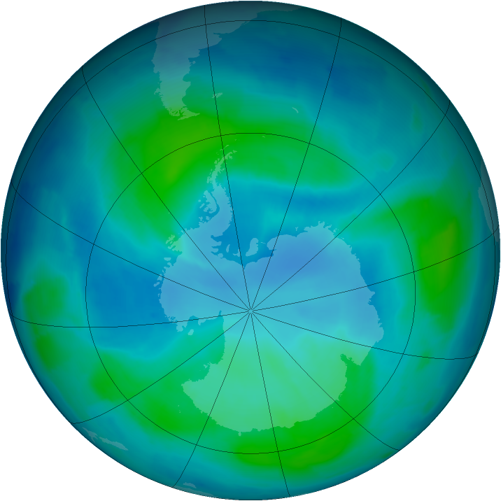 Antarctic ozone map for 14 February 2012