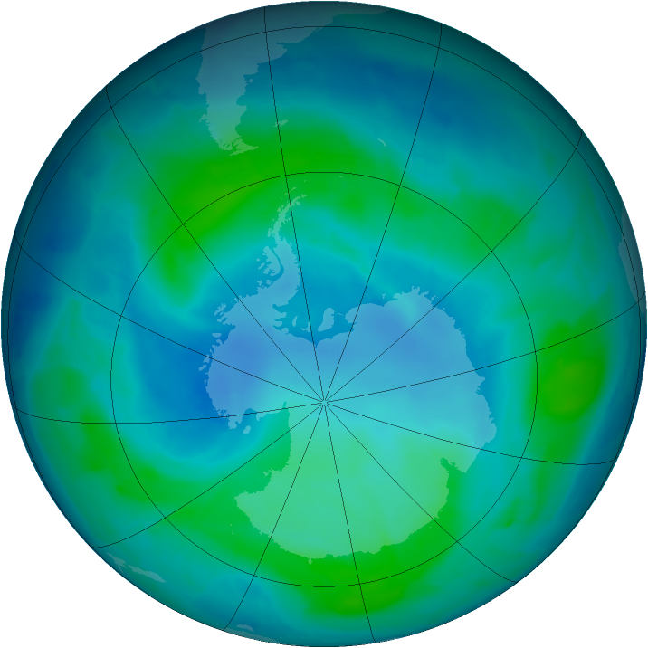 Antarctic ozone map for 15 February 2012
