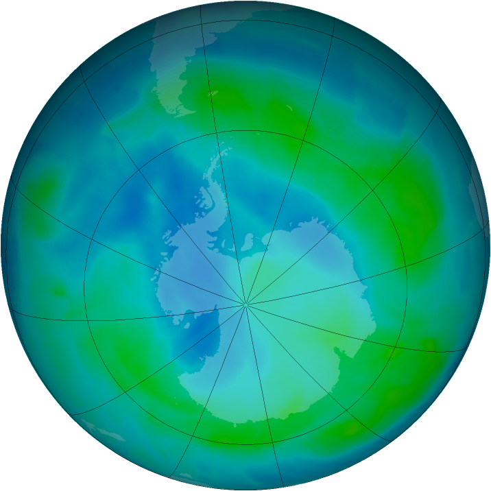Antarctic ozone map for 20 February 2012